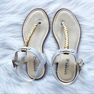 Sperry Top Sider Cream & Goldtone Metallic Sandals